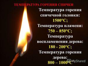 Какова температура огня